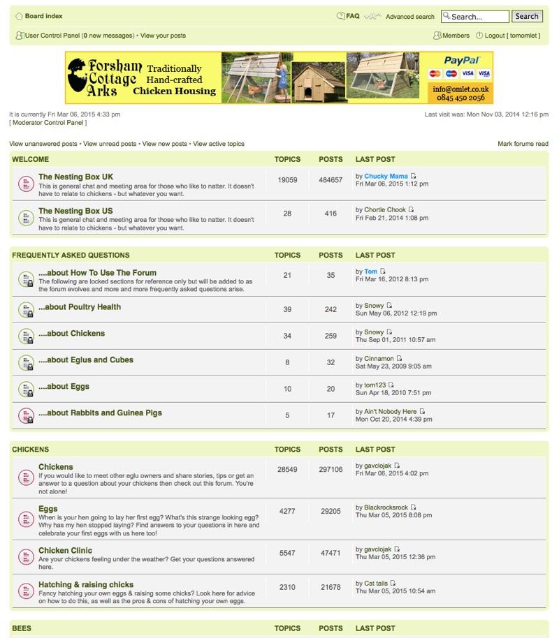 A screenshot of the Omlet forum