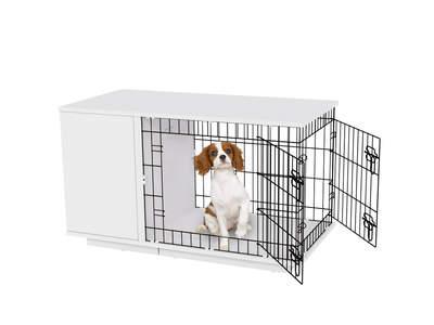 Fido Studio 24 Dog Crate with Wardrobe - White