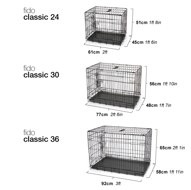 Diagram showing dimensions of Fido Classic.